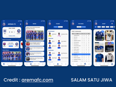 Arema FC App arema aremafc salamsatujiwa sport sportapp ux ui uiuxdesign mobile ui mobile app design mobile app