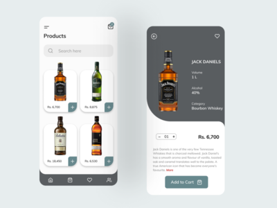 Alcoholic Beverage Shopping ios flat design ux ui mobile app