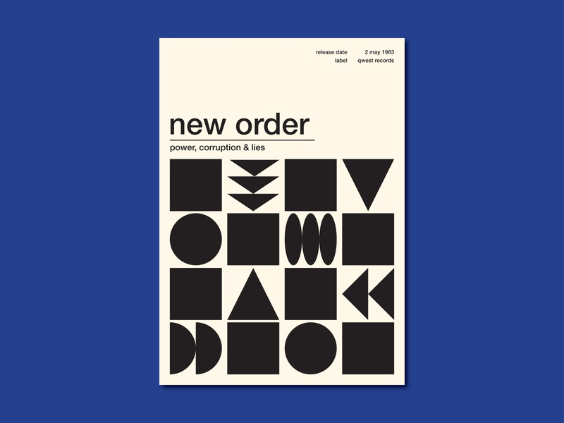 New Order Poster 80s shapes blue monday power corruption and lies new order music poster poster design illustration graphic design
