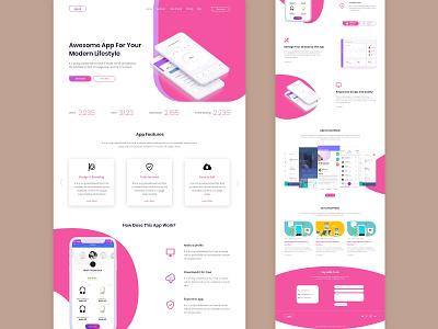 App landing page appweb websites animation trend ui design uiuxdesign application appsdesign template designer designs behance dribbble wix uiux website page applanding app design app