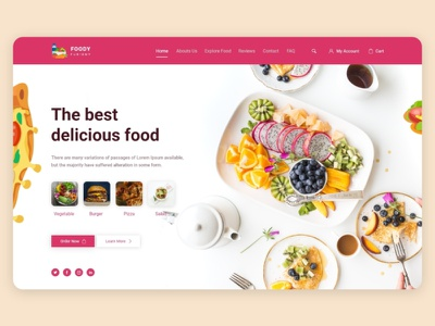 Food Landing Page UIUX - Design kits ios uikits template creative design new test cake shop testy foodie trend dribbble landingpage food and drink wix uiwebsite uiux delicious cake food