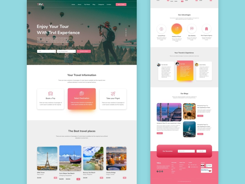 Travel Landing Pagee UIUX-Design color designs journey place wix trend dribbble illustration uiuxdesign landingpage design template webdesign uidesign uiux tourist tour traveling travel