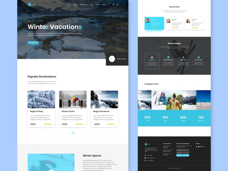 Winter Vacation Landing Page UIUX-Design landingpage designs concept style video colors color winter sports ui  ux ui winterboard webdesign wix uidesign website uiux ice cool winter