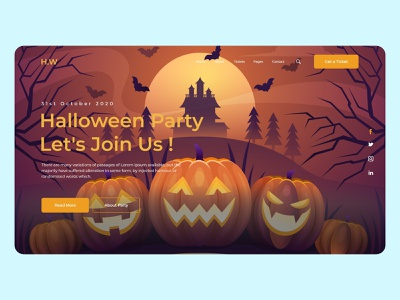 Halloween Party Template Design design art drawing painting wix halloweens new design style color dribbble branding illustration template website logo halloween design halloween party halloween landingpage uiux