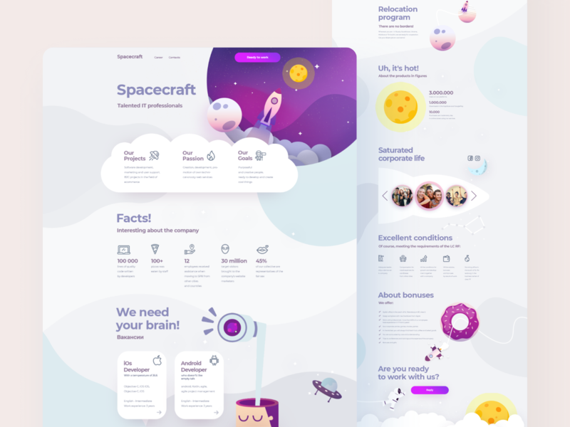 Cosmic landing page vector design illustration website flat offer bonus relocation recruitment cloud planet space spacecraft landing ui