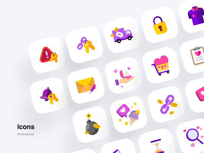 Icons for push notifications bomb delivery tshirt heart message safety locker search link like alert offer notification illustration vector ios illustraion design app ui