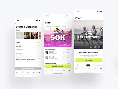 NIKE RUN CLUB iOS App Conception ios app design app design challenging run nike air club apple ui ux concept ios app challenge team sport jog nike run club nike run nike running nike