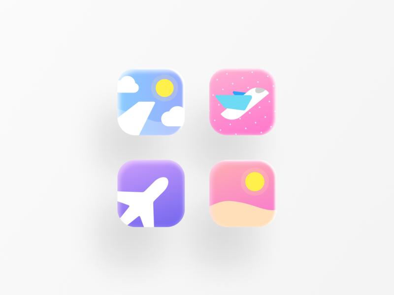 Travel icons flight app dots window travel app travelling simple illustration logo vector ux cute flight sky vocation sun aircraft airplane travel app ui