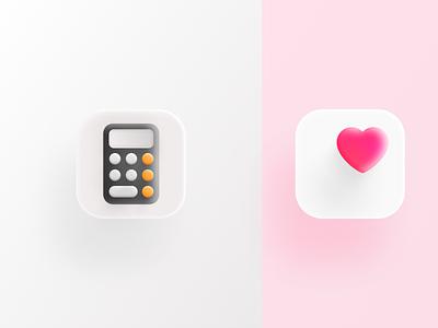 Health and calculator icons in Big Sur. design ui application app design big surf love heart icon appstore heath app calculator app app icons health calculator shadow big sur