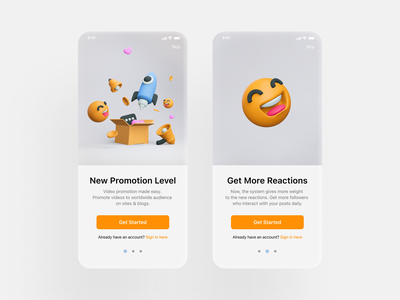 Onboarding for video promotion app app 3d art money coins hearts heart share promotion box likes comments rocket onboarding ui onboarding tutorial startup smile3d smiles blender