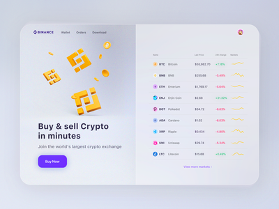 Binance main page redesign concept chart rates eth bnb btc ltc exchange sell buy lightmode bitloin crypto currency crypto exchange finance bitcoin blender cryptocurrency crypto wallet binance crypto
