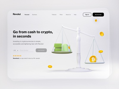 Web Page conception for Revolut bitcoin exchange court scales crypto wallet money transfer 3d art money 3d money investments investing clean blender 3d bitcoins banking cryptocurrency bitcoin finance revolut crypto