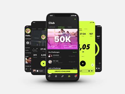NIKE RUN CLUB iOS App Conception nike running sports design ios application ios app concept application run challenge club progres ui activity jog nikerun ios nike app