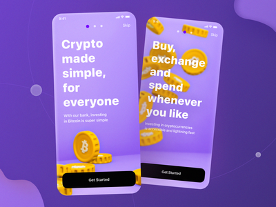 Onboarding for cryptocurrency app violet coinbase coin ios apple app tutorial onboard onboarding ui application ui app design coins blender cryptoart cryptoapp crypto exchange crypto currency cryptocurrency crypto wallet crypto