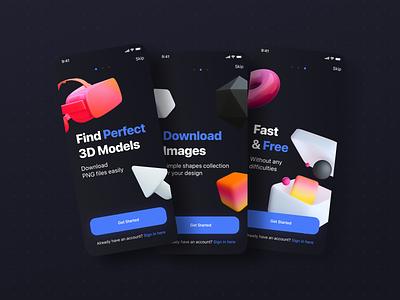 Simple 3D Models for App Design blender models 3d art design torus squares box graphic design ui glasses primitives 3d artist vr ar onboarding onboardind ios app shapes blender 3d