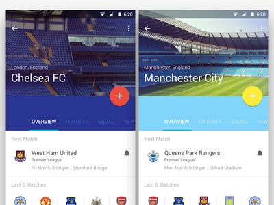 Football Material Design ui ux football material design android l android soccer google app