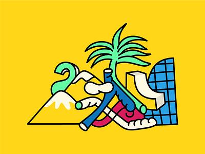 BEACH & SUN branding illustration vector vector art modern editorial illustration beach design character art