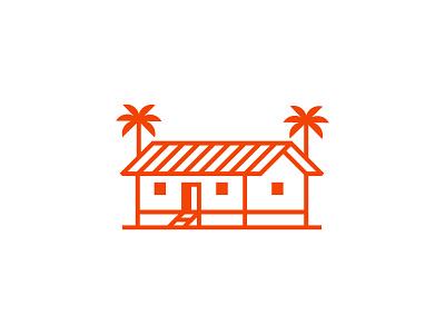 Beach Building palm tree maui hawaii branding logo building beach