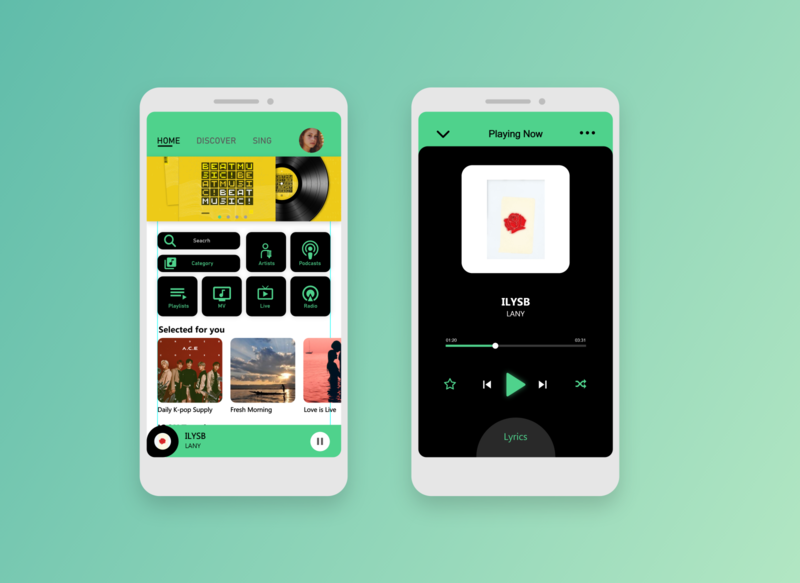 JOOX Application music streaming app green concept ux ui typography illustration icon design app branding adobexd