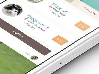 add pet app screen pet dog cat iphone app application mobile ui ux green brown