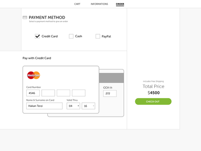 Shopping cart payment with credit card screen