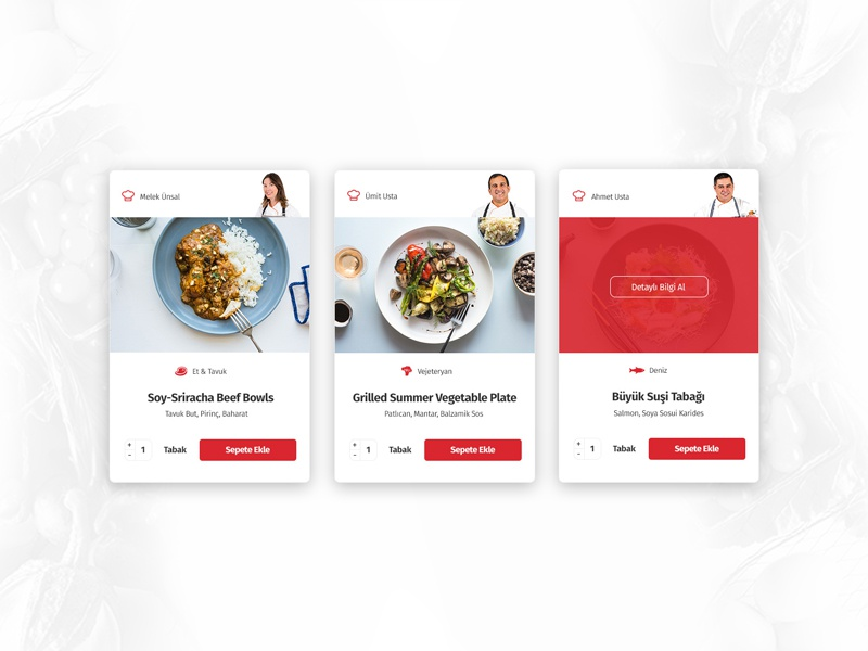 Recipes of the week website type flat web app design ux ui card recipe meal