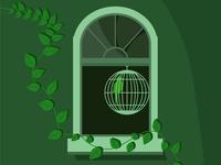 Window illustration vector illustration vector monochrome wall cage parrot canary bird plant window green
