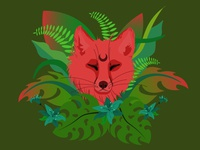 Fox illustration vector illustration vector fox illustration contrast animal green leaves plant jungle foxy