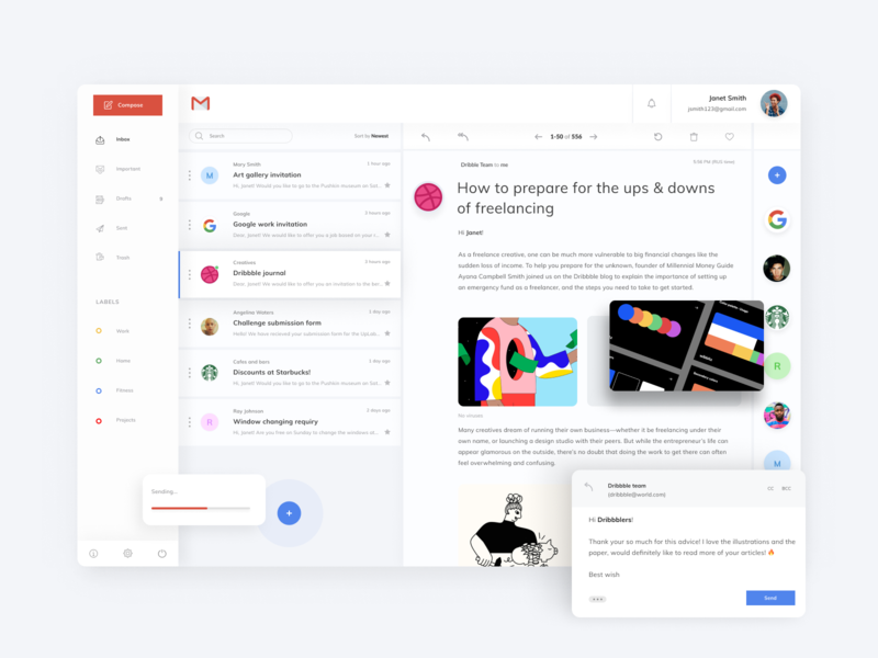 gmail redesign dashboard ui dashboad websites web redesign gmail vector ui design uiux design ux ui ui ux uidesigner website concept webdesign website