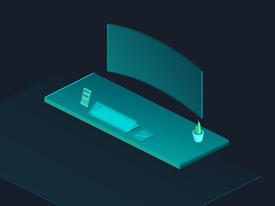 Future Desktop workspace illustration design illustration art vector illustration computer isometric desktop