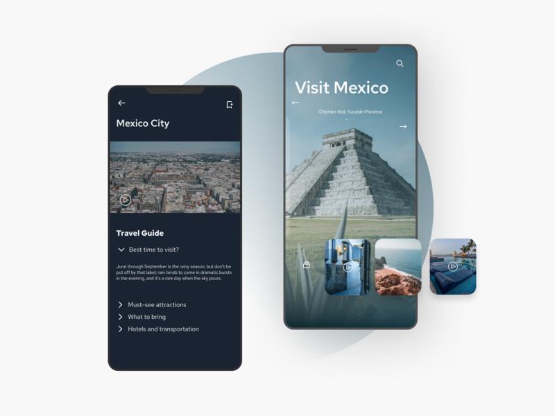 Travel Guide App design blue mexico guide app companion travel