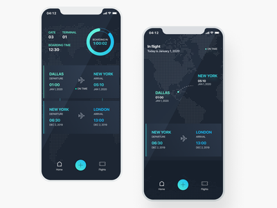 Flight Time - the helpful itinerary assistant itinerary schedule gates terminal boarding airplane figma timer app flight