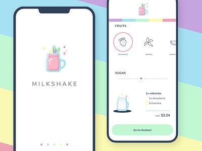 Milkshake! restaurant pastel checkout fruits ui mobile milkshake shake