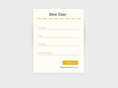 Registration form - Classic Americana dailyui 001 interface