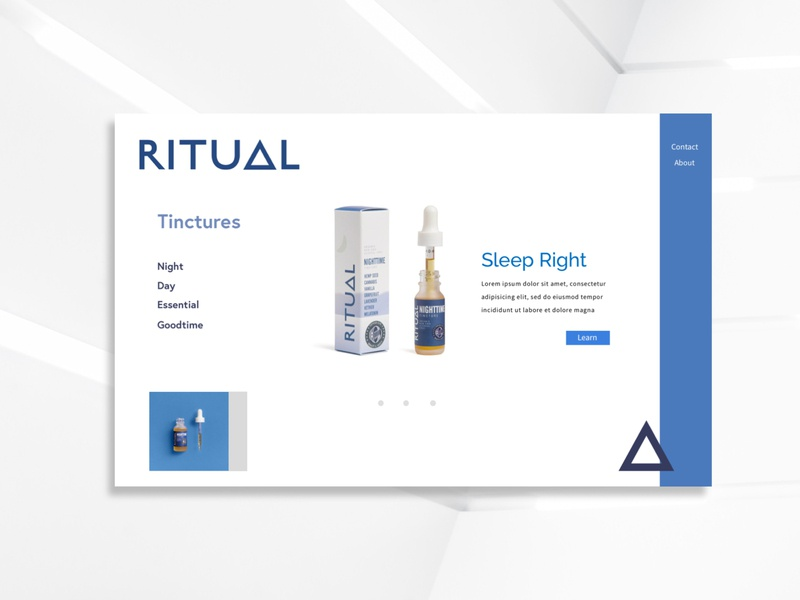 Ritual Drops brand ui blue and white landing page