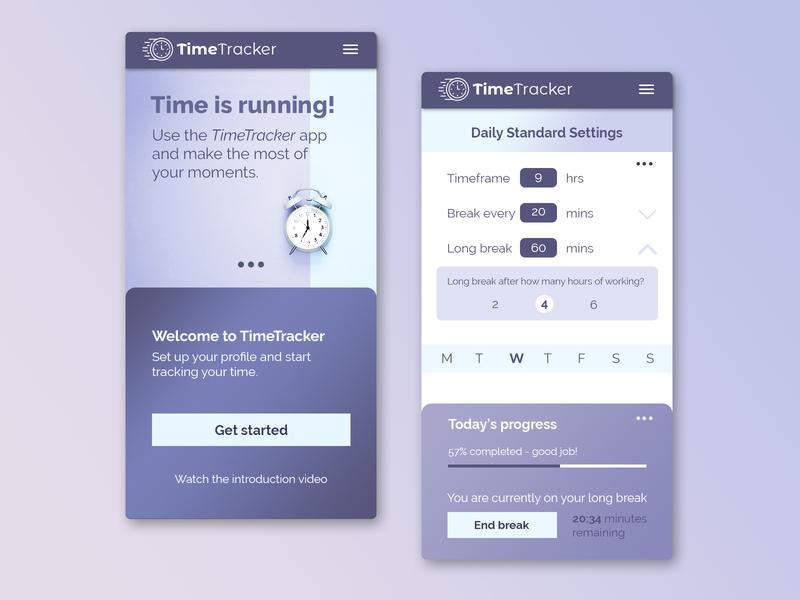 TimeTracker Mobile App user interface ui design photoshop uiux design app usability ux ui fundesign purple time tracking time mobile app mobile uiux