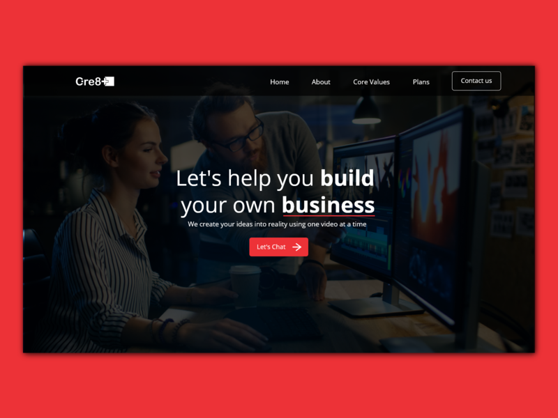 Video marketing company landing page webdesign landing page