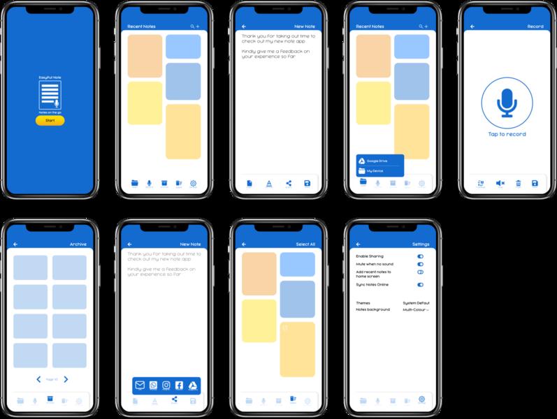 Easy Put Note mobile app note app uidesign ux design