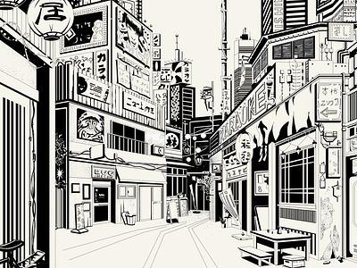 "Books & Spirits - ""Norwegian Wood"" (H. Murakami) & Whiskey perspective building blocks ink black  white urban city illustration illustration"