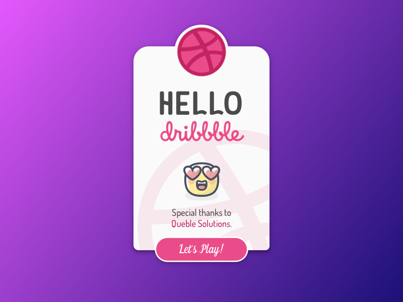 Hello Dribbble! card minimal first shot debut dribbble