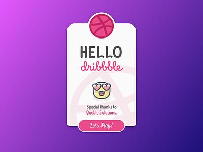 Hello Dribbble! card minimal first shot debut dribbble