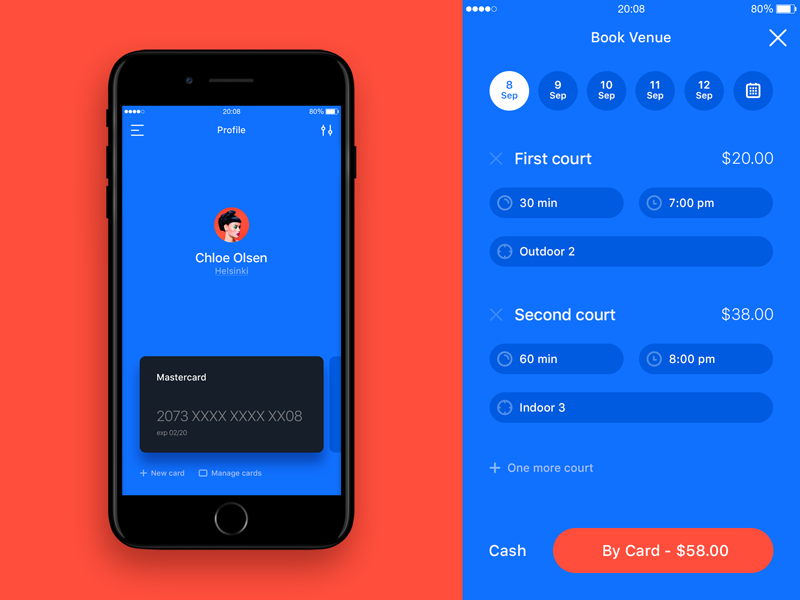 Playven playven iphone ios ui ux cards profile tennis sports booking