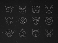 Chinese Horoscope Icons Set