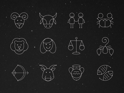 Horoscope Icon Set daily star space stars sign zodiac leo sagittarius astrology capricorn pisces virgo scorpio taurus libra gemini aries signs prediction illustration