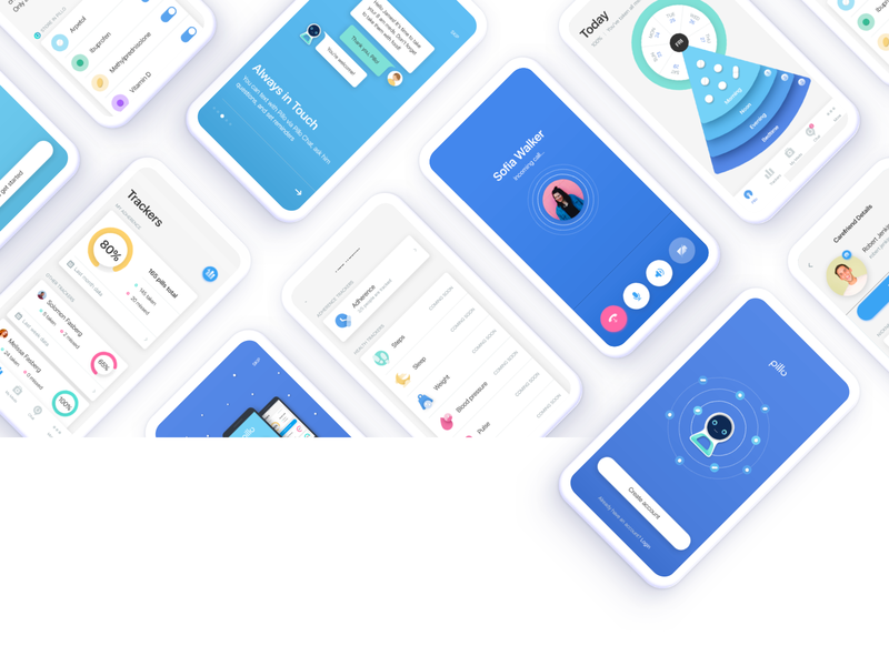 Pillo Healthcare App Redesign tracker pills mobile call audio interaction med pill medical medication robot android ios digital application medicare health design ux ui