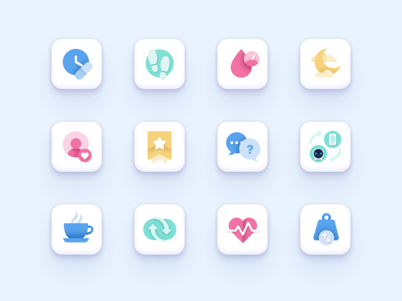 Pillo Health App Icon Set icon collection subscription connect moon sleep user weight coffee syncing chat support adherence time pulse blood pressure blood steps vector illustration icon
