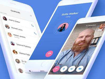Pillo Redesign. Care Team Screens appointment cell phone contacts doctor interaction communication friends conversation meeting calling video audio call android ios digital ux ui design