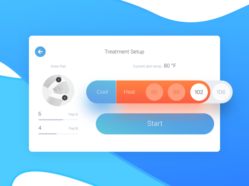 Cooling & Heating Device — Treatment Setup Screen Details console design therapy recovery health doctor therapist temperature cold cool hot heat med medicare medical healthcare device digital ux ui