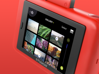 Polaroid Snap Touch Camera Gallery control ui ux digital device custom interaction photo photographer photography camera video gallery photobooth burst collage stack list scroll tap