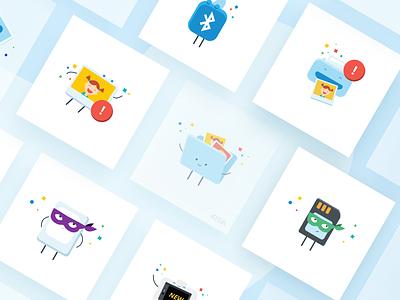 Polaroid Illustrations photography sd card folder cute fun camera bluetooth paper memory prtinter print photo cartoon character digital vector branding illustration icon design